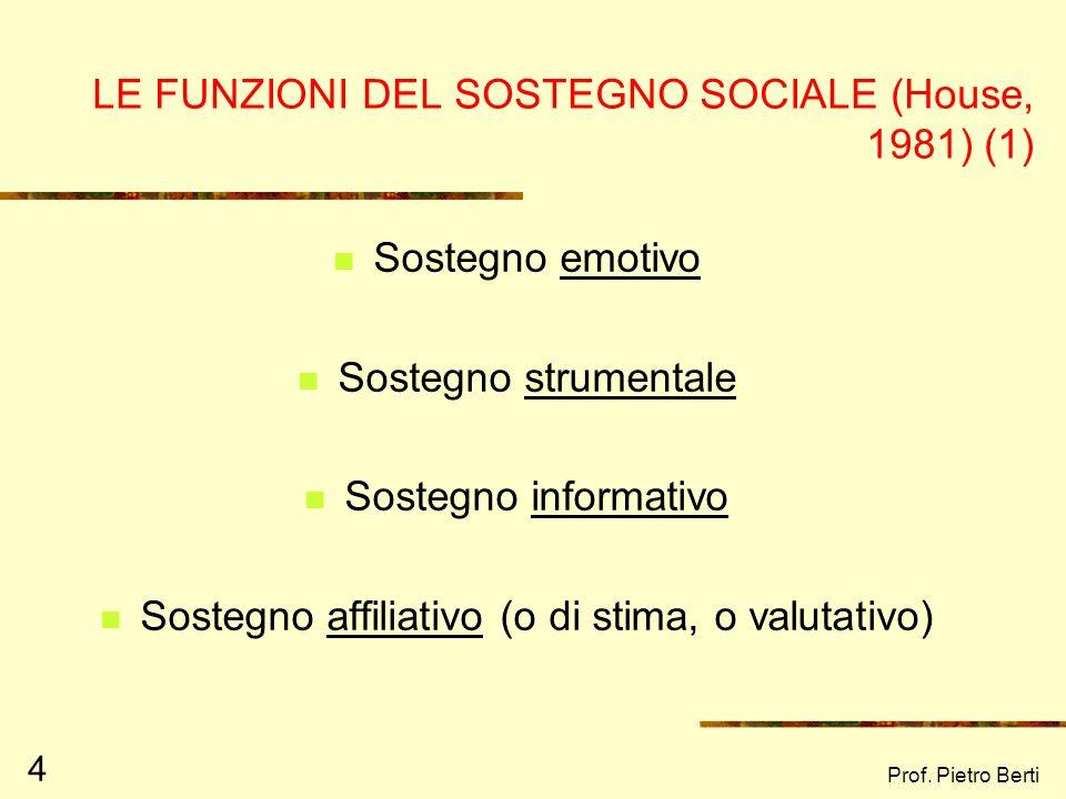 Prof. Pietro Berti 4 LE FUNZIONI DEL SOSTEGNO SOCIALE (House, 1981) (1) Sostegno emotivo Sostegno strumentale Sostegno informativo Sostegno affiliativ