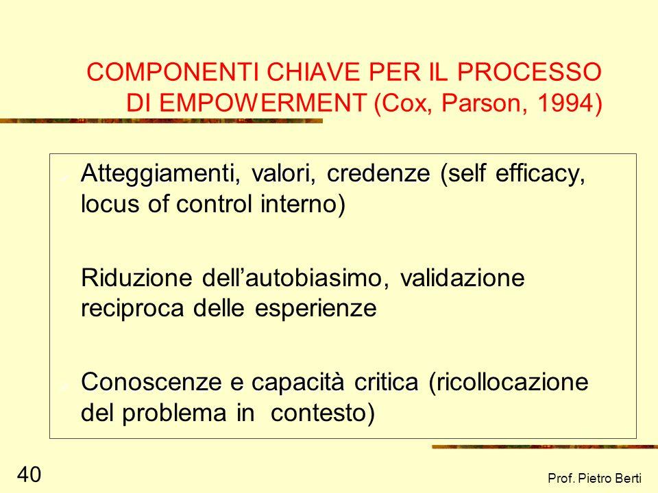 Prof. Pietro Berti 40 COMPONENTI CHIAVE PER IL PROCESSO DI EMPOWERMENT (Cox, Parson, 1994) Atteggiamenti, valori, credenze Atteggiamenti, valori, cred
