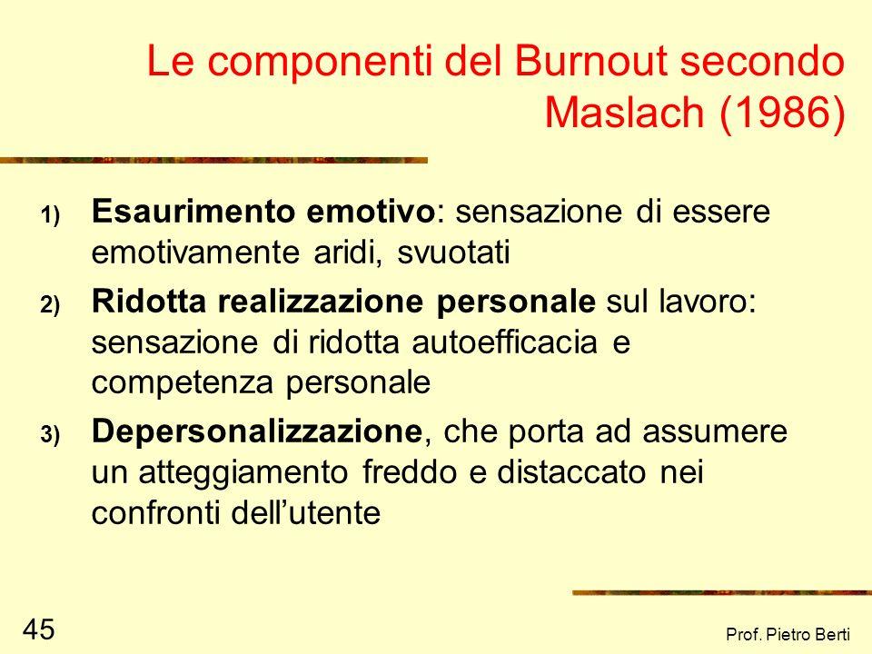 Prof. Pietro Berti 45 Le componenti del Burnout secondo Maslach (1986) 1) Esaurimento emotivo: sensazione di essere emotivamente aridi, svuotati 2) Ri