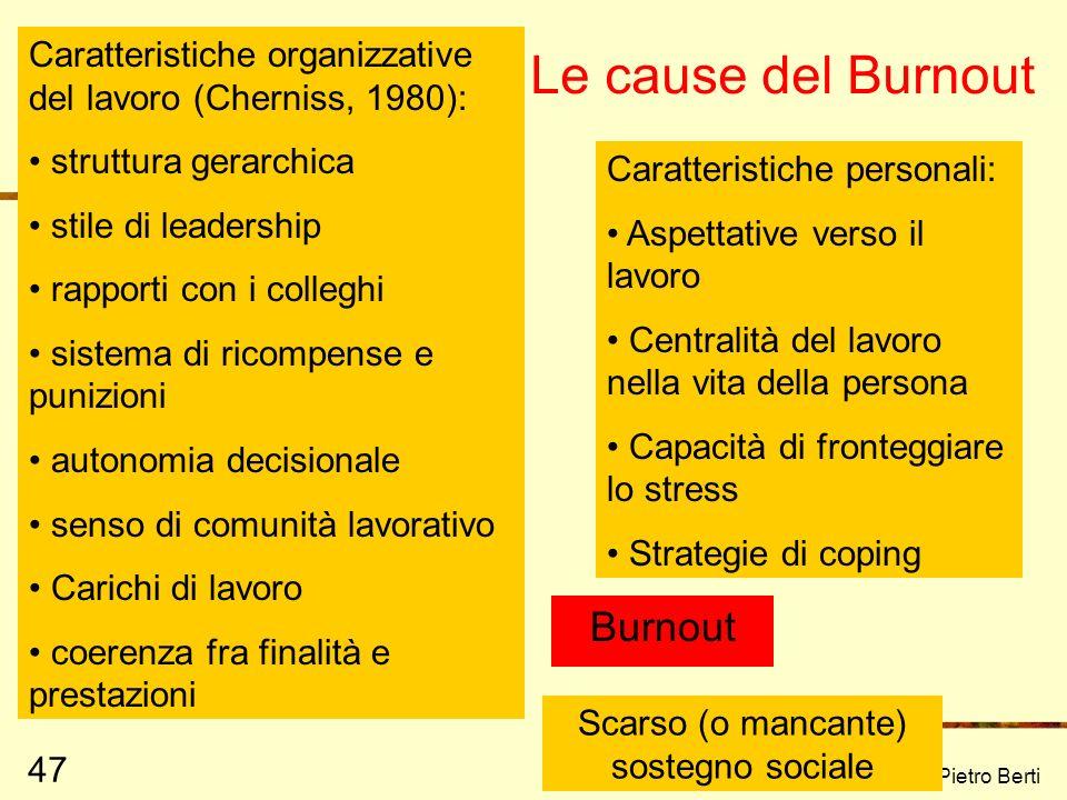 Prof. Pietro Berti 47 Le cause del Burnout Burnout Scarso (o mancante) sostegno sociale Caratteristiche personali: Aspettative verso il lavoro Central