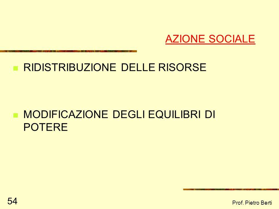 Prof. Pietro Berti 54 AZIONE SOCIALE RIDISTRIBUZIONE DELLE RISORSE MODIFICAZIONE DEGLI EQUILIBRI DI POTERE