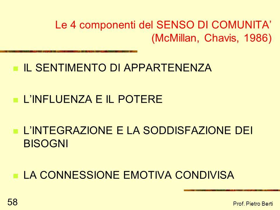 Prof. Pietro Berti 58 Le 4 componenti del SENSO DI COMUNITA (McMillan, Chavis, 1986) IL SENTIMENTO DI APPARTENENZA LINFLUENZA E IL POTERE LINTEGRAZION