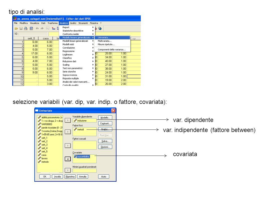 tipo di analisi: selezione variabili (var. dip, var. indip. o fattore, covariata): var. dipendente var. indipendente (fattore between) covariata