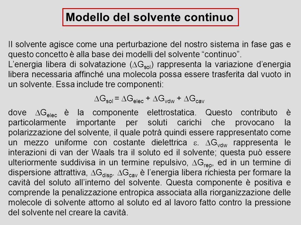Modello del solvente continuo Il solvente agisce come una perturbazione del nostro sistema in fase gas e questo concetto è alla base dei modelli del s