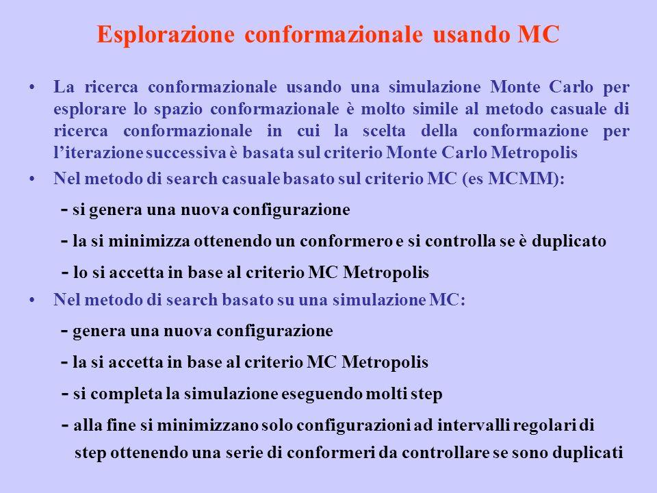 Esplorazione conformazionale usando MC La ricerca conformazionale usando una simulazione Monte Carlo per esplorare lo spazio conformazionale è molto s