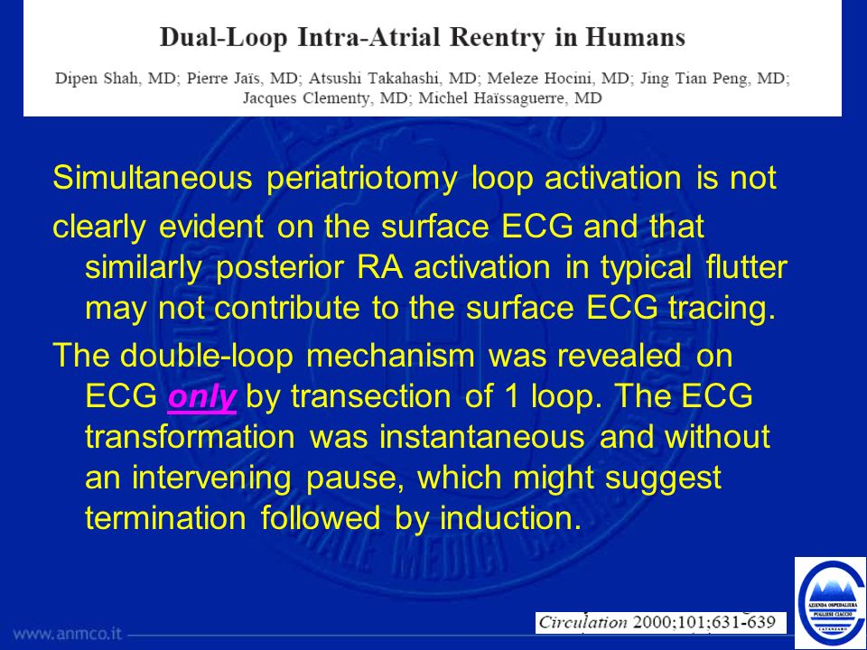Simultaneous periatriotomy loop activation is not clearly evident on the surface ECG and that similarly posterior RA activation in typical flutter may