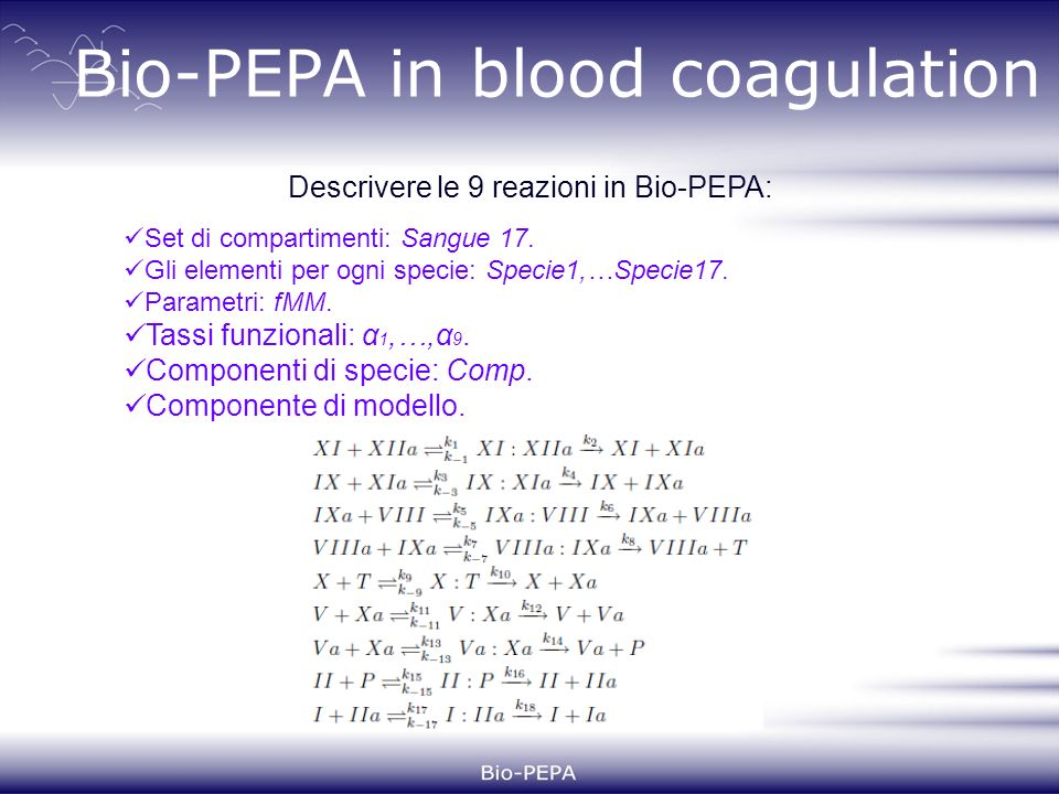 Bio-PEPA in blood coagulation Set di compartimenti: Sangue 17.