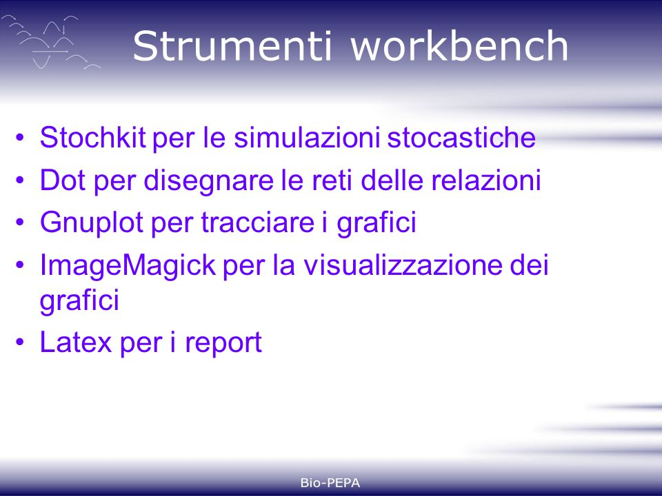 Strumenti workbench Stochkit per le simulazioni stocastiche Dot per disegnare le reti delle relazioni Gnuplot per tracciare i grafici ImageMagick per la visualizzazione dei grafici Latex per i report