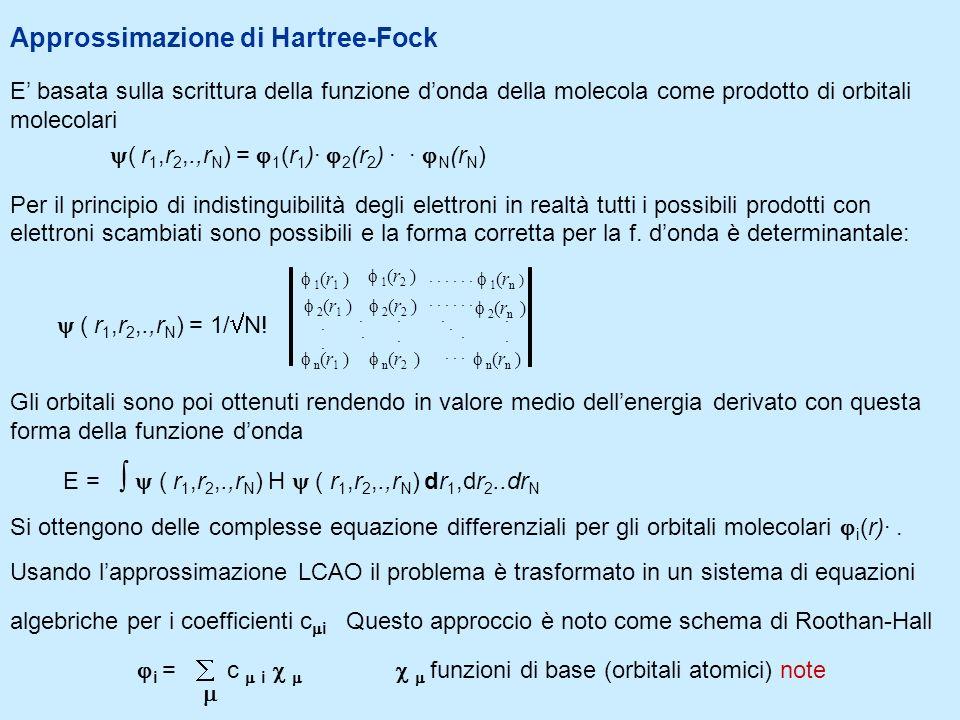 Approssimazione di Hartree-Fock E basata sulla scrittura della funzione donda della molecola come prodotto di orbitali molecolari ( r 1,r 2,.,r N ) =