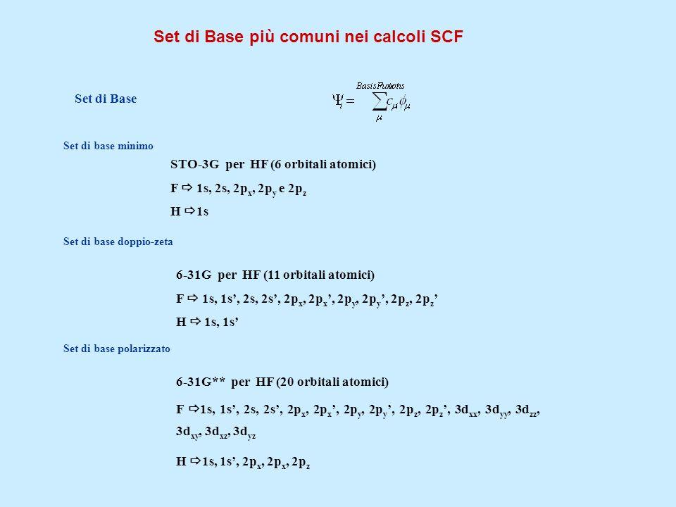 Set di Base più comuni nei calcoli SCF Set di Base Set di base minimo STO-3G per HF (6 orbitali atomici) F 1s, 2s, 2p x, 2p y e 2p z H 1s Set di base