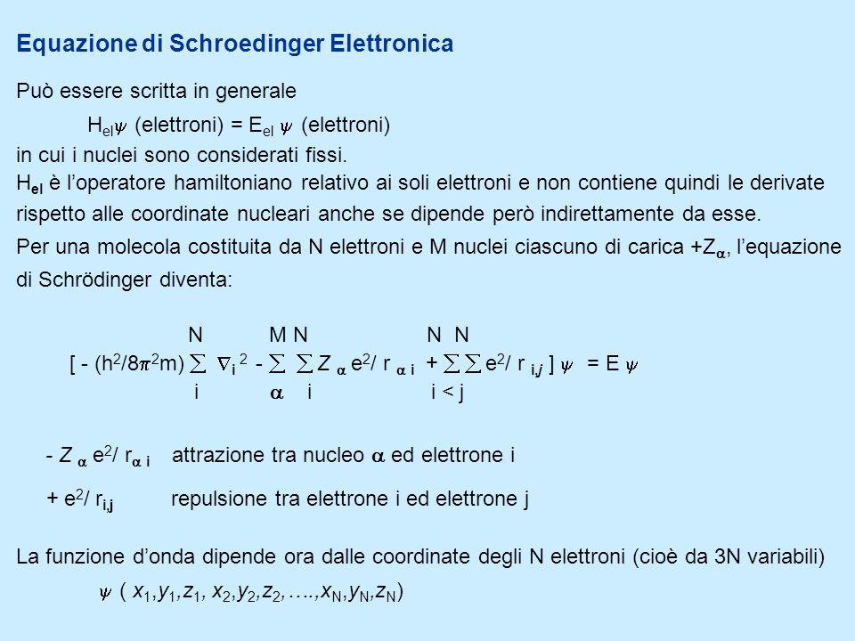 Equazione di Schroedinger Elettronica Può essere scritta in generale H el (elettroni) = E el (elettroni) in cui i nuclei sono considerati fissi. H el