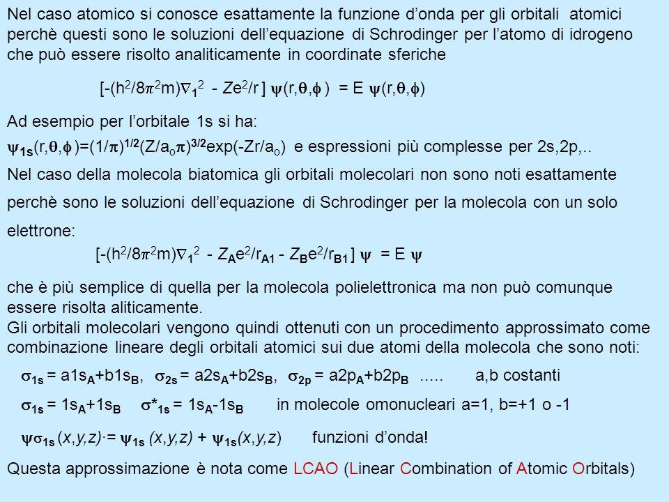 Nel caso atomico si conosce esattamente la funzione donda per gli orbitali atomici perchè questi sono le soluzioni dellequazione di Schrodinger per la