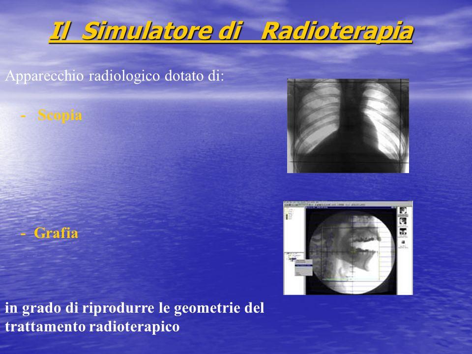 Il Simulatore di Radioterapia Apparecchio radiologico dotato di: - Scopia - Grafia in grado di riprodurre le geometrie del trattamento radioterapico