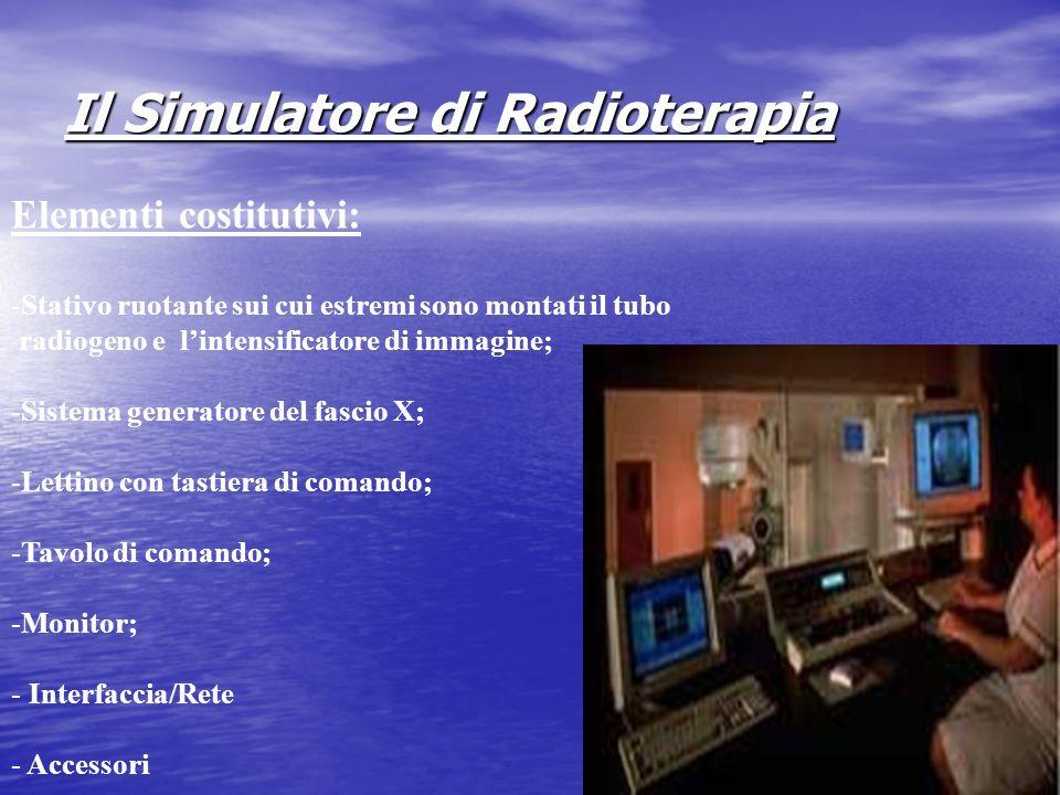 Il Simulatore di Radioterapia Elementi costitutivi: -Stativo ruotante sui cui estremi sono montati il tubo radiogeno e lintensificatore di immagine; -