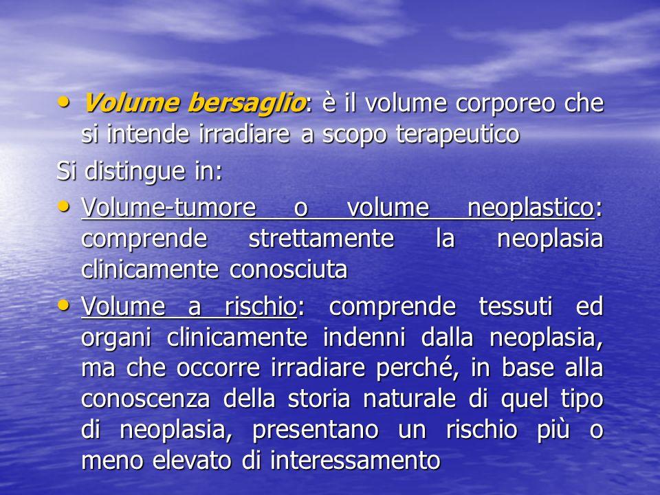 Volume bersaglio: è il volume corporeo che si intende irradiare a scopo terapeutico Volume bersaglio: è il volume corporeo che si intende irradiare a