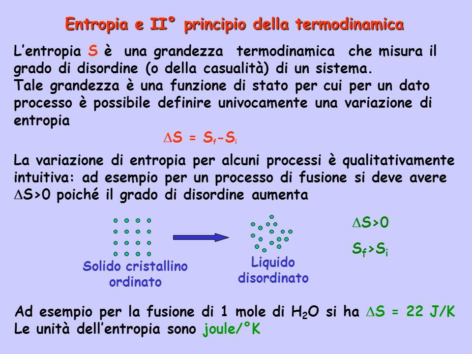 Entropia e II° principio della termodinamica Lentropia S è una grandezza termodinamica che misura il grado di disordine (o della casualità) di un sist