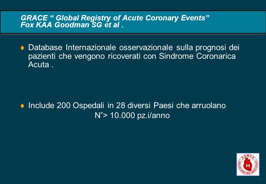11 GRACE Global Registry of Acute Coronary Events Fox KAA Goodman SG et al. Database Internazionale osservazionale sulla prognosi dei pazienti che ven