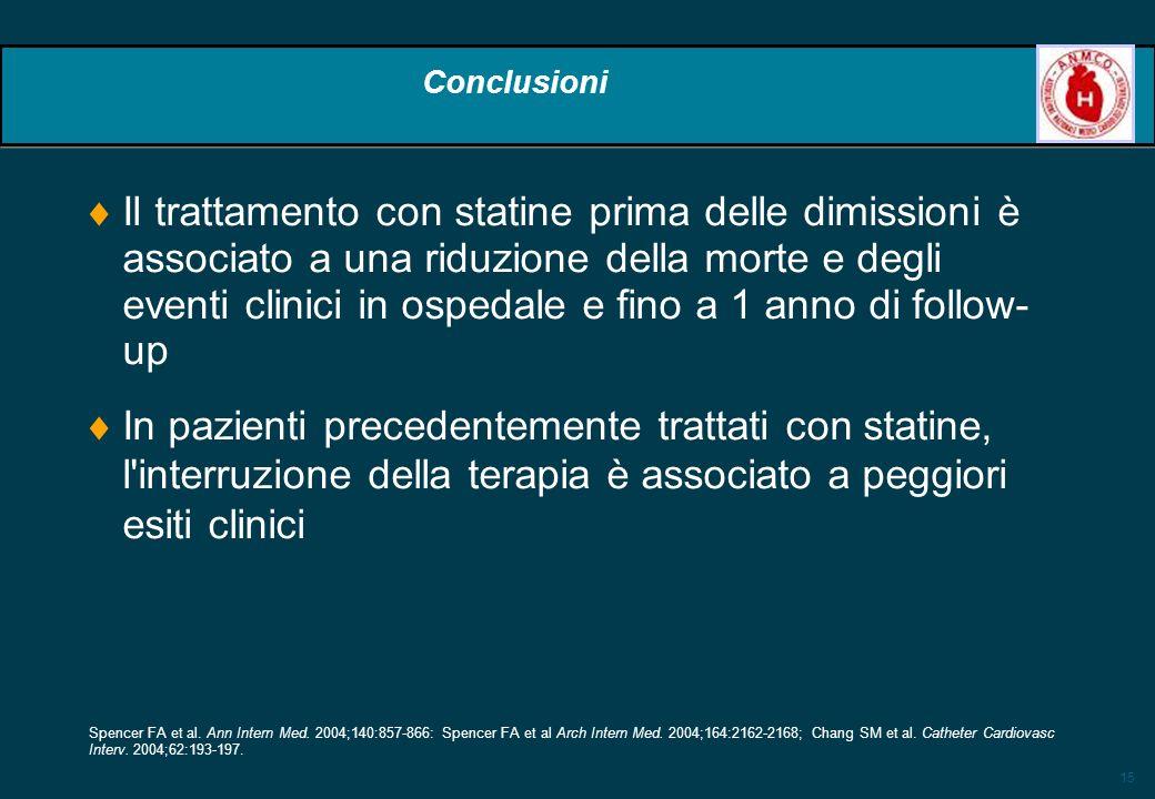 15 Conclusioni Il trattamento con statine prima delle dimissioni è associato a una riduzione della morte e degli eventi clinici in ospedale e fino a 1