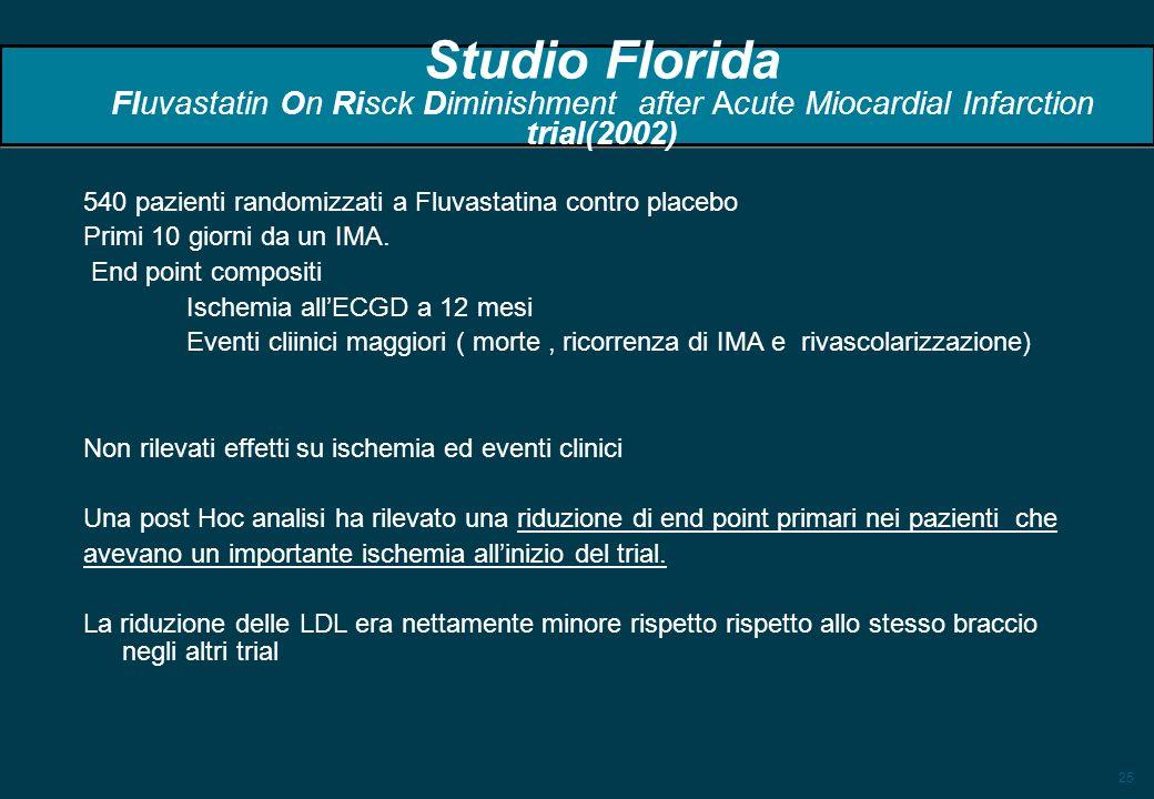 25 Studio Florida Fluvastatin On Risck Diminishment after Acute Miocardial Infarction trial(2002) 540 pazienti randomizzati a Fluvastatina contro plac