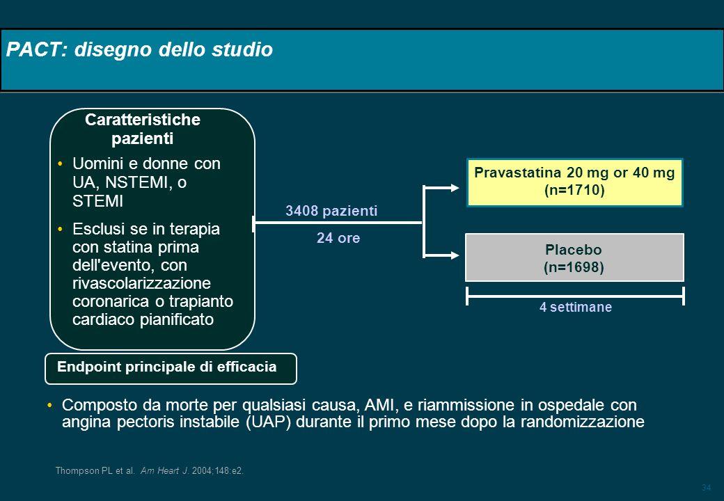 34 PACT: disegno dello studio 3408 pazienti 24 ore Uomini e donne con UA, NSTEMI, o STEMI Esclusi se in terapia con statina prima dell'evento, con riv