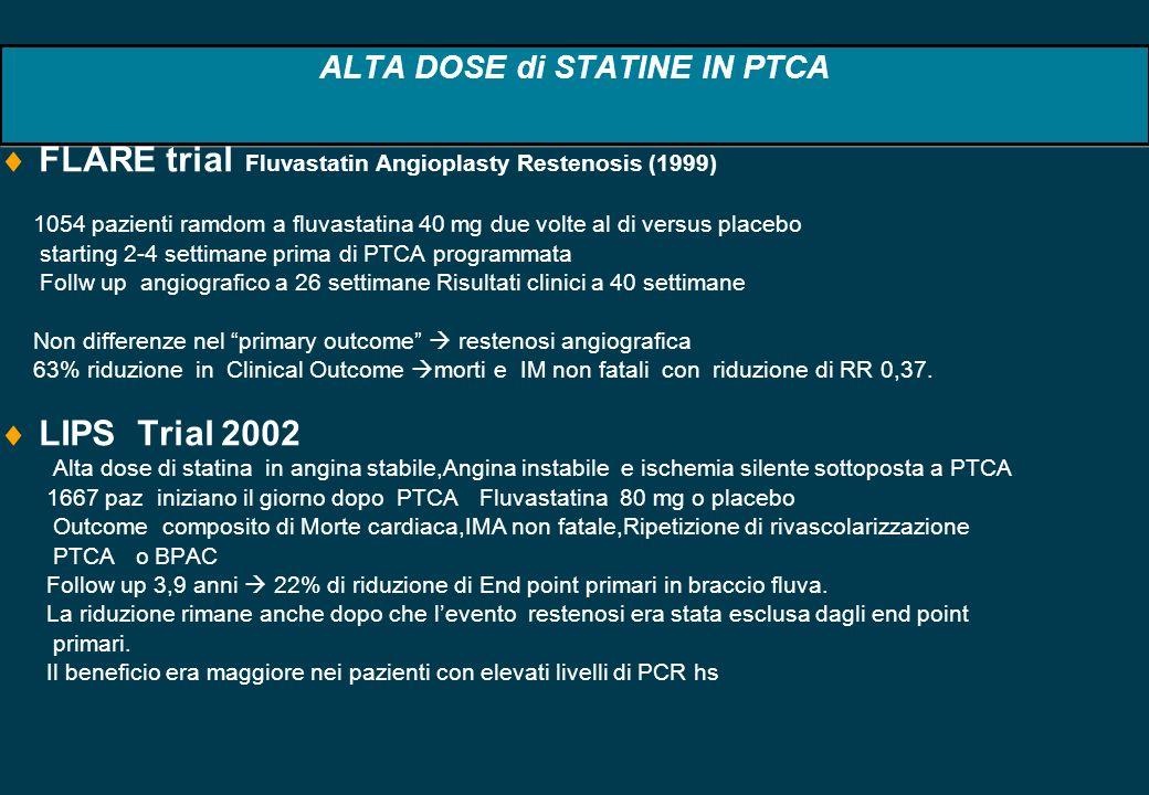 ALTA DOSE di STATINE IN PTCA FLARE trial Fluvastatin Angioplasty Restenosis (1999) 1054 pazienti ramdom a fluvastatina 40 mg due volte al di versus pl