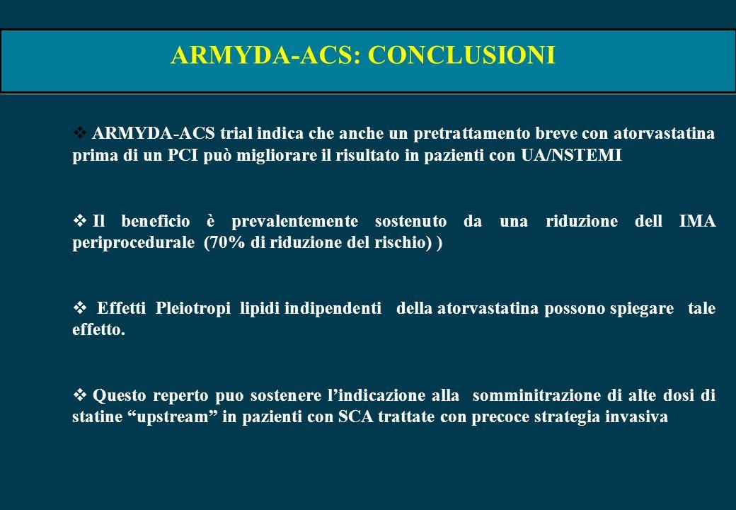 ARMYDA-ACS: CONCLUSIONI ARMYDA-ACS trial indica che anche un pretrattamento breve con atorvastatina prima di un PCI può migliorare il risultato in paz