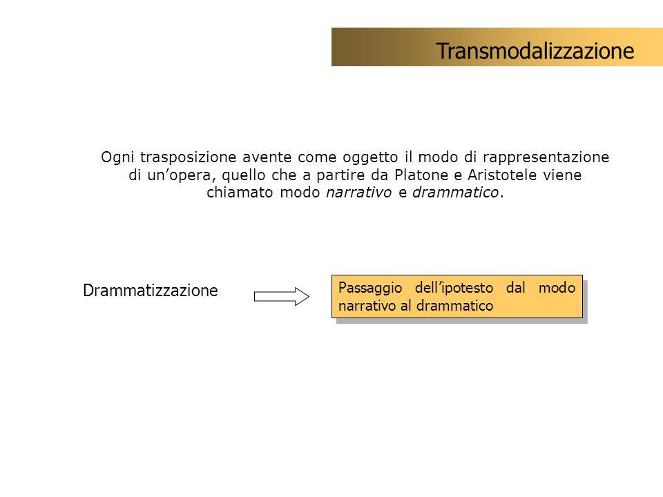 Drammatizzazione Passaggio dellipotesto dal modo narrativo al drammatico Transmodalizzazione Ogni trasposizione avente come oggetto il modo di rappres