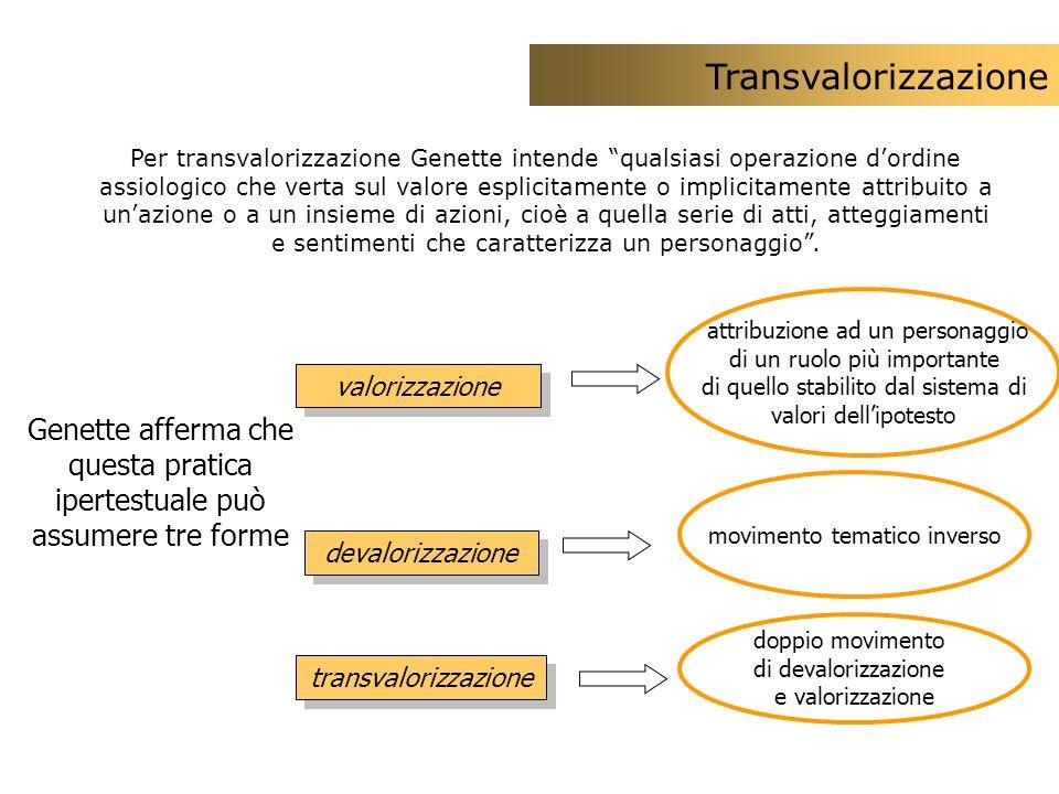 attribuzione ad un personaggio di un ruolo più importante di quello stabilito dal sistema di valori dellipotesto Genette afferma che questa pratica ip