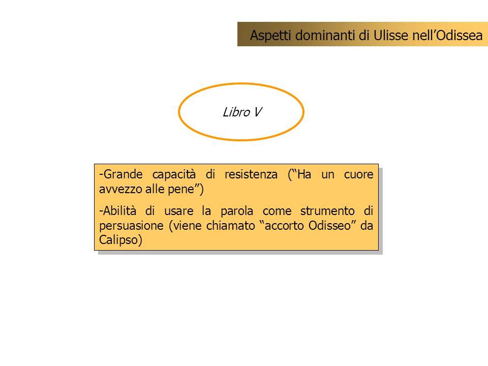 Libro V Aspetti dominanti di Ulisse nellOdissea -Grande capacità di resistenza (Ha un cuore avvezzo alle pene) -Abilità di usare la parola come strume
