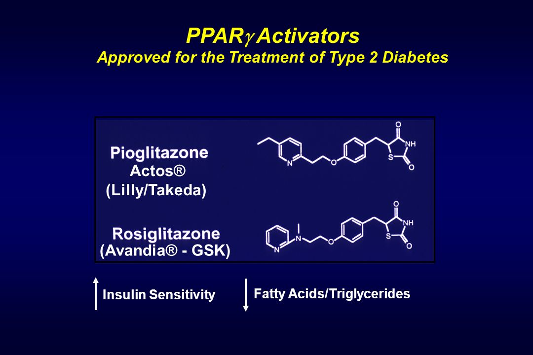 PPAR Activators Approved for the Treatment of Type 2 Diabetes Fatty Acids/Triglycerides Insulin Sensitivity Actos® (Lilly/Takeda) (Avandia® - GSK)