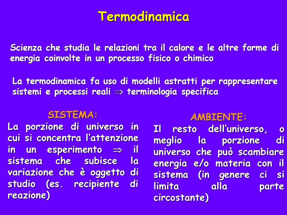 SISTEMA: La porzione di universo in cui si concentra lattenzione in un esperimento il sistema che subisce la variazione che è oggetto di studio (es.