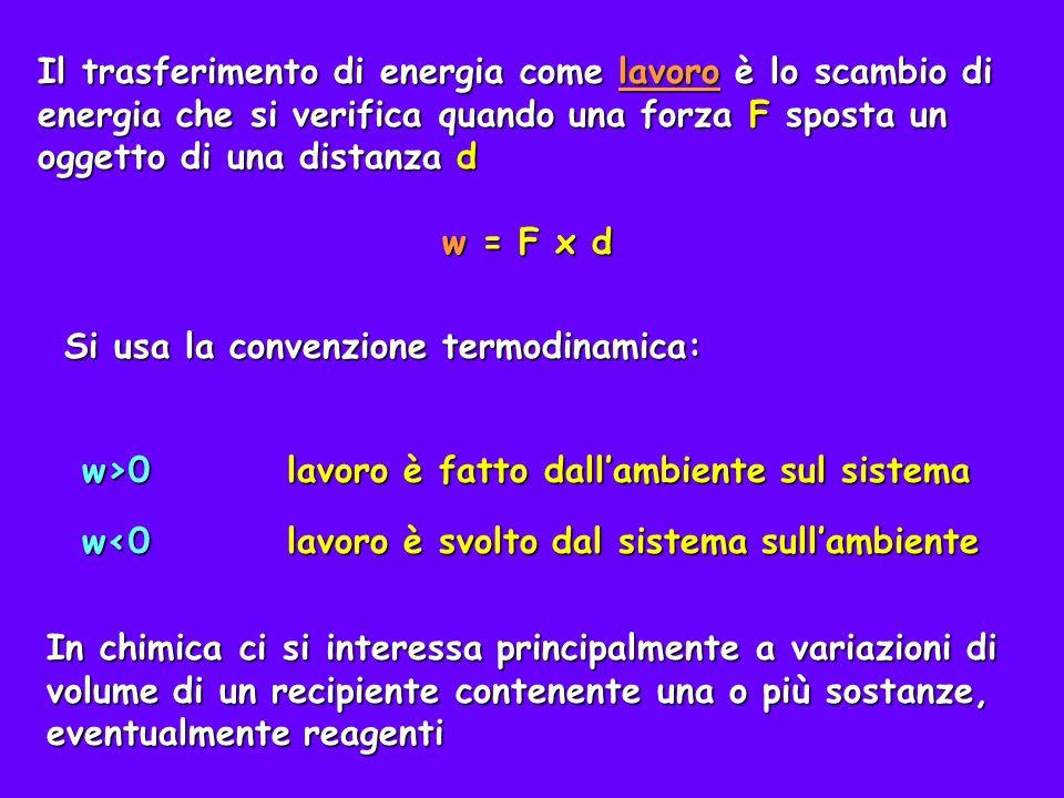 Consideriamo ad esempio un cilindro dotato di un pistone mobile (senza attrito) e calcoliamo il lavoro fatto sul sistema comprimendo il pistone di una forza F spostandolo di una distanza d dove V=V f -V i