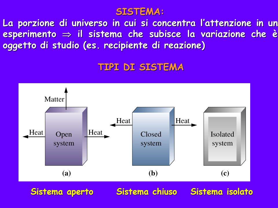 SISTEMA: La porzione di universo in cui si concentra lattenzione in un esperimento il sistema che subisce la variazione che è oggetto di studio (es. r