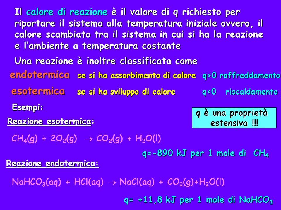 Calore di reazione ed entalpia Calore di reazione ed entalpia Il calore di reazione dipende dalle condizioni in cui avviene la reazione.