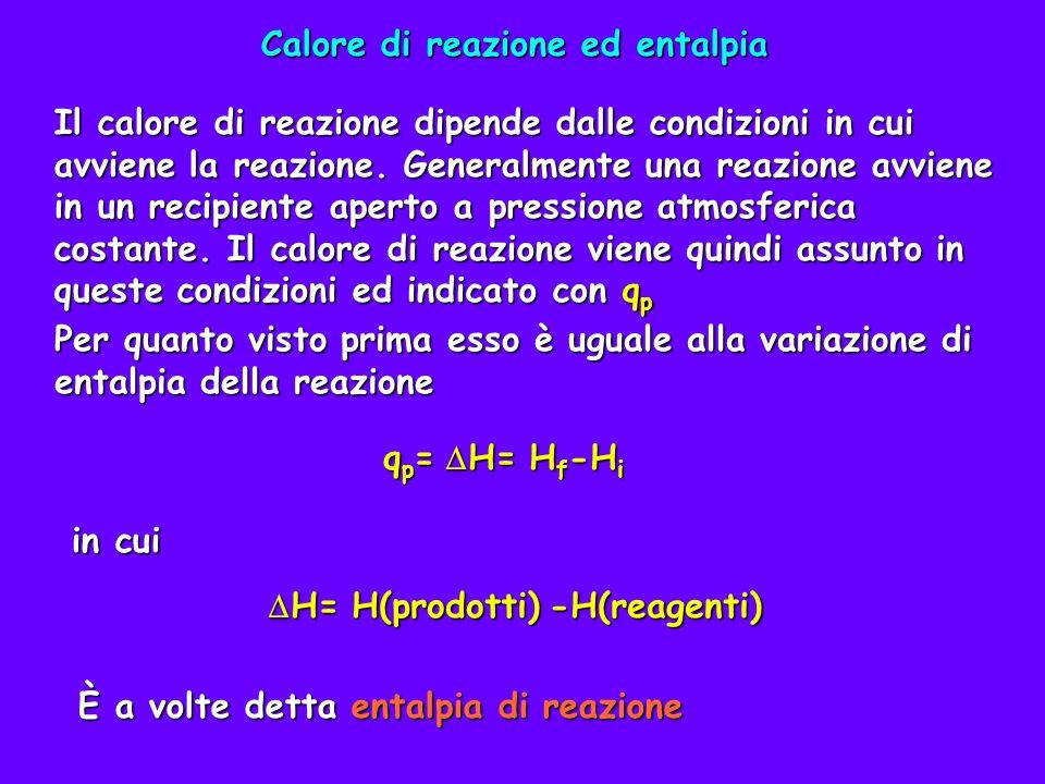Per equazione termochimica si intende un equazione chimica a cui è data un interpretazione molare ed aggiunta l indicazione dell entalpia di reazione H=-483,74 kJ 2H 2 (g) + O 2 (g) 2H 2 O(g) H=-483,74 kJ È importante indicare gli stati fisici delle sostanze perché possono alterare il H.