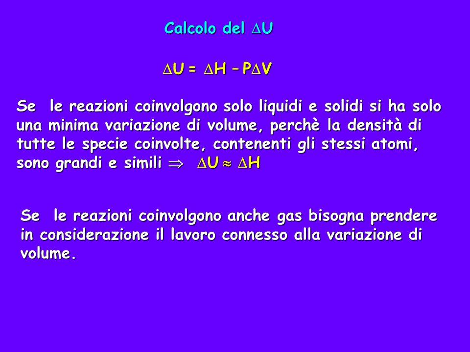 Si consideri ad esempio la reazione H°=-152,4 kJ Zn(s)+2H + (aq) Zn 2+ (aq)+H 2 (g) H°=-152,4 kJ Calcolare il U della reazione fatta avvenire in un recipiente aperto alla pressione di 1 atm e a 25°C usando una mole di Zn Il problema si risolve notando che l idrogeno gassoso aumenta il volume del sistema che deve quindi compiere un lavoro contro la pressione atmosferica.