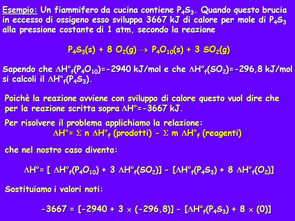 Risolviamo quindi per H° f (P 4 S 3 ) H° f (P 4 S 3 ) = 3667 – [ 2940 + 3 (-296,8)] H° f (P 4 S 3 ) = 3667 – [ 2940 + 3 (-296,8)] = 3667 – 2949 - 890,4 = -163 kJ = 3667 – 2949 - 890,4 = -163 kJ
