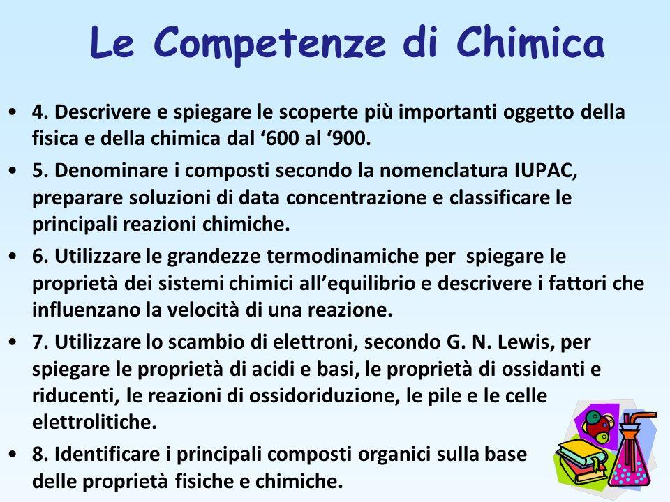 Le Competenze di Chimica 4. Descrivere e spiegare le scoperte più importanti oggetto della fisica e della chimica dal 600 al 900. 5. Denominare i comp