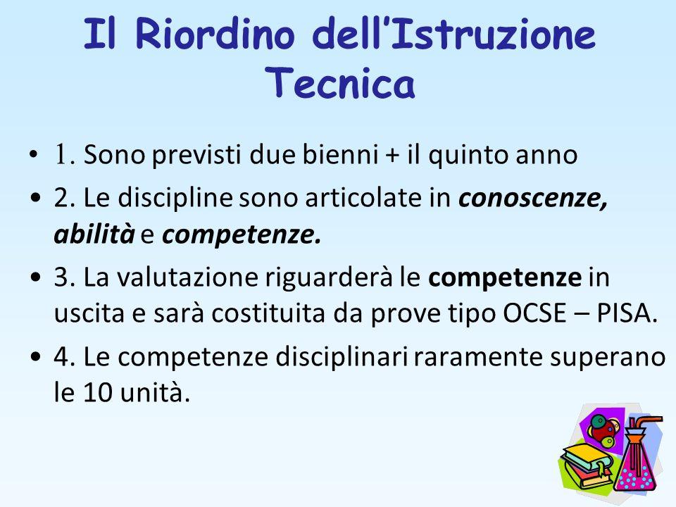 Il Riordino dellIstruzione Tecnica 1. Sono previsti due bienni + il quinto anno 2. Le discipline sono articolate in conoscenze, abilità e competenze.