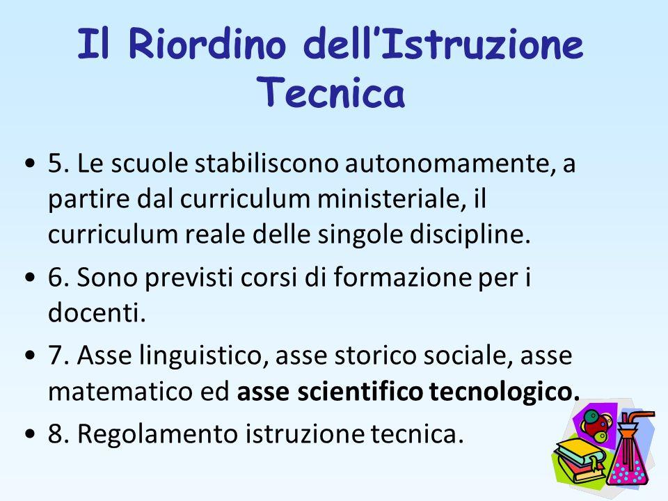 Il Riordino dellIstruzione Tecnica 5. Le scuole stabiliscono autonomamente, a partire dal curriculum ministeriale, il curriculum reale delle singole d