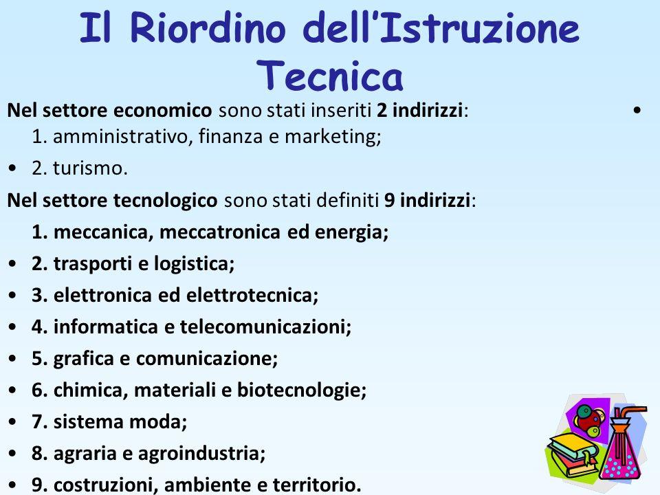 Il Riordino dellIstruzione Tecnica Nel settore economico sono stati inseriti 2 indirizzi: 1. amministrativo, finanza e marketing; 2. turismo. Nel sett