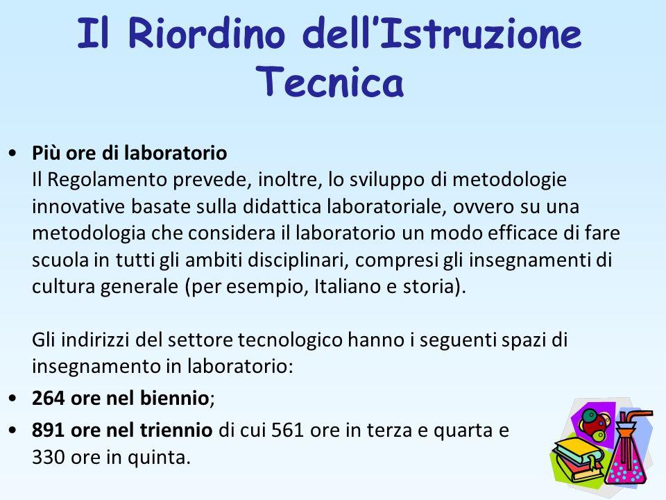 Il Riordino dellIstruzione Tecnica Più ore di laboratorio Il Regolamento prevede, inoltre, lo sviluppo di metodologie innovative basate sulla didattic