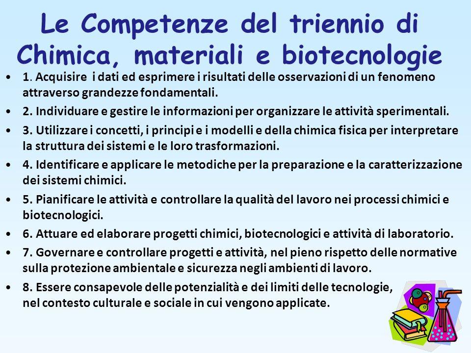 Le Competenze del triennio di Chimica, materiali e biotecnologie 1. Acquisire i dati ed esprimere i risultati delle osservazioni di un fenomeno attrav