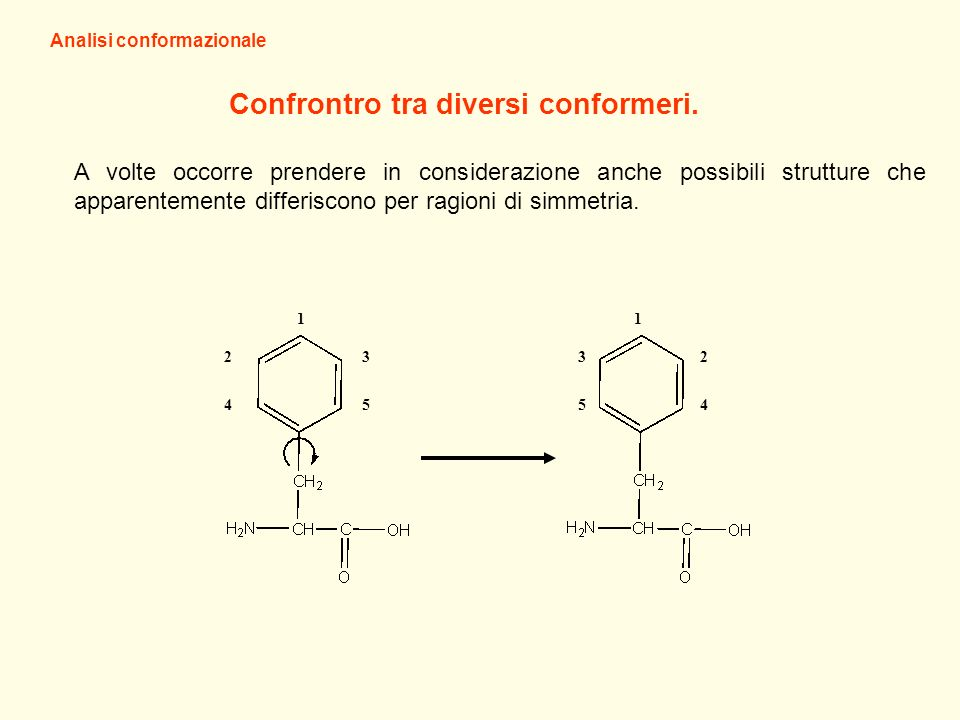 Analisi conformazionale Confrontro tra diversi conformeri.