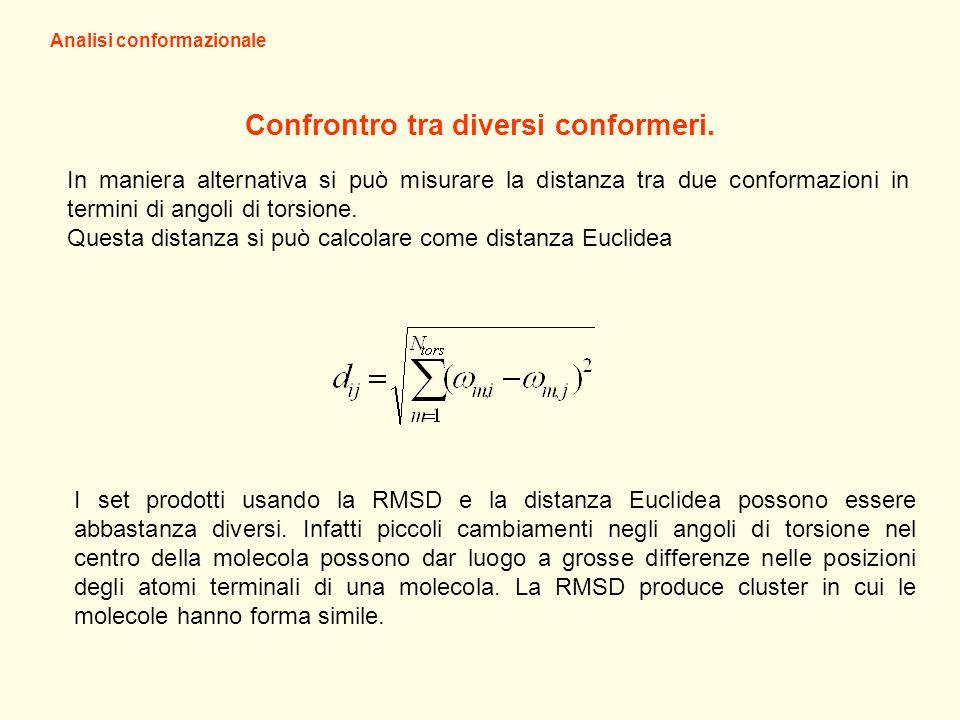Analisi conformazionale In maniera alternativa si può misurare la distanza tra due conformazioni in termini di angoli di torsione. Questa distanza si