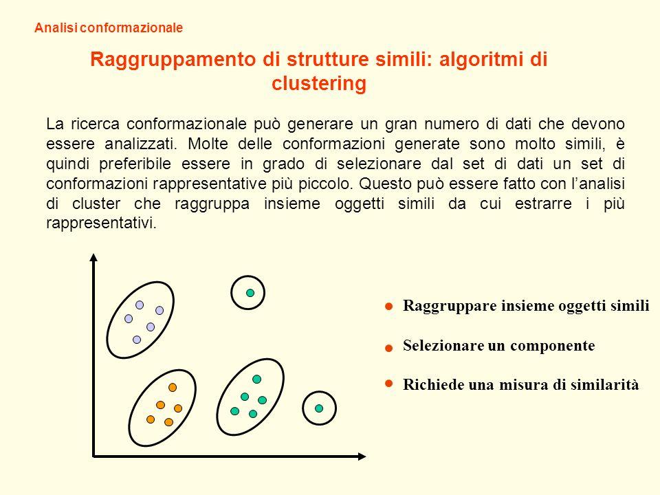 Analisi conformazionale Raggruppamento di strutture simili: algoritmi di clustering La ricerca conformazionale può generare un gran numero di dati che