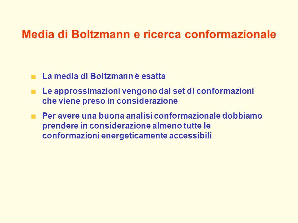 Media di Boltzmann e ricerca conformazionale La media di Boltzmann è esatta Le approssimazioni vengono dal set di conformazioni che viene preso in considerazione Per avere una buona analisi conformazionale dobbiamo prendere in considerazione almeno tutte le conformazioni energeticamente accessibili