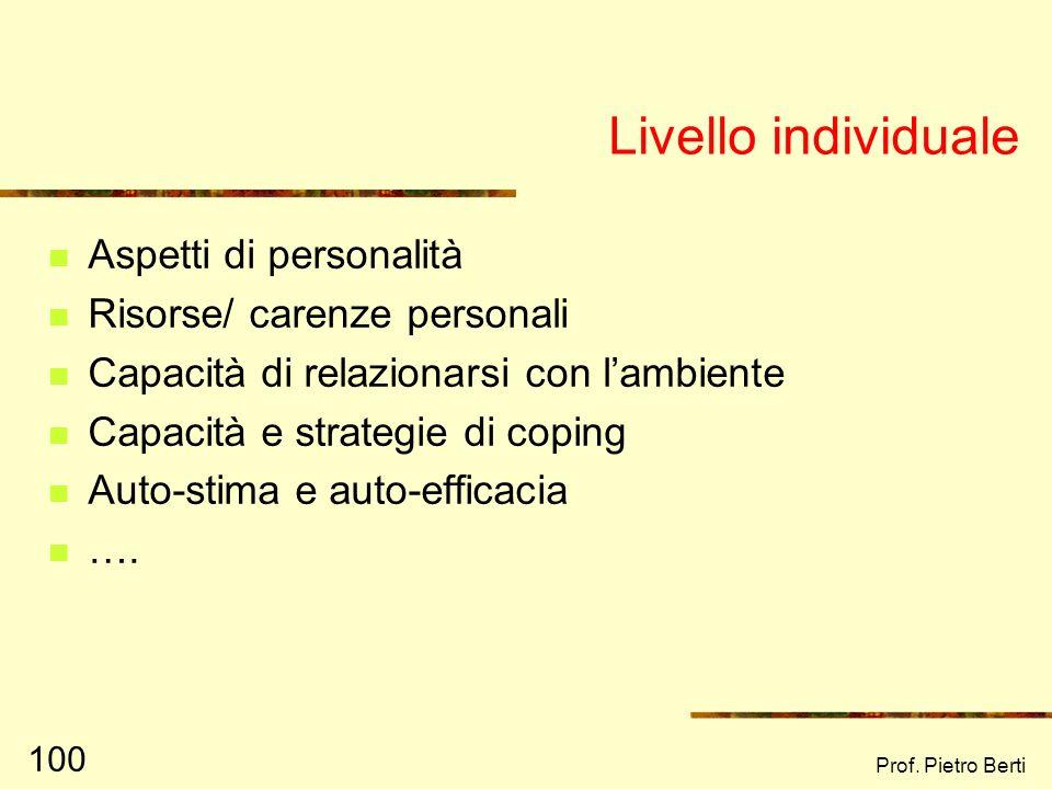 Prof. Pietro Berti 99 I livelli ecologici Macrosistema Comunità locale Organizzazioni Microsistema Individuale Dallago, Santinello, Vieno (2004): pag.