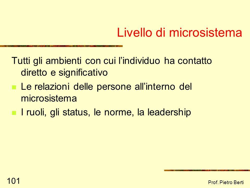 Prof. Pietro Berti 100 Livello individuale Aspetti di personalità Risorse/ carenze personali Capacità di relazionarsi con lambiente Capacità e strateg