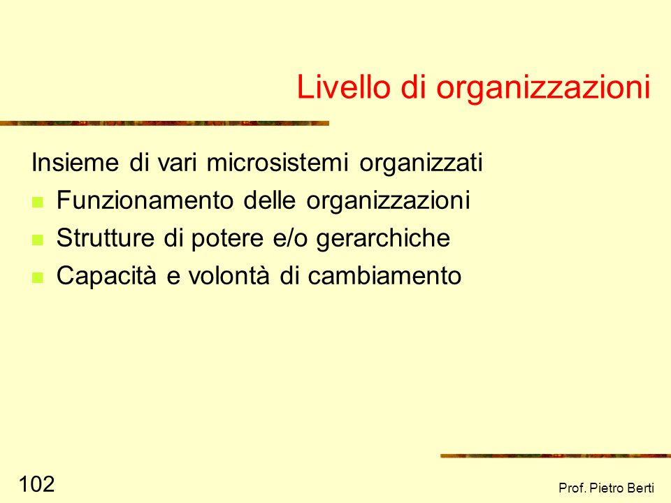 Prof. Pietro Berti 101 Livello di microsistema Tutti gli ambienti con cui lindividuo ha contatto diretto e significativo Le relazioni delle persone al